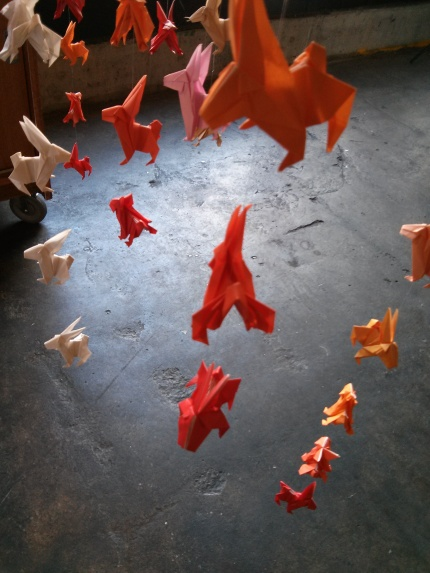 sally land : red origami bunnies