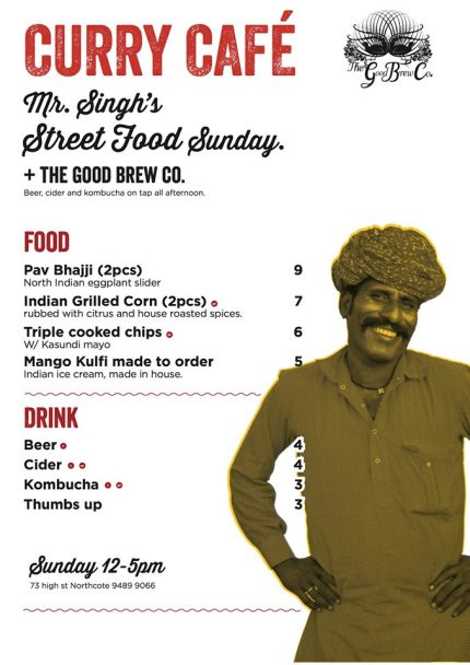 curry cafe : mr singh's street food sunday menu