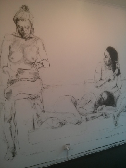 Isabella Mack : Women at Home - charcoal on wall @ Off The Kerb Gallery