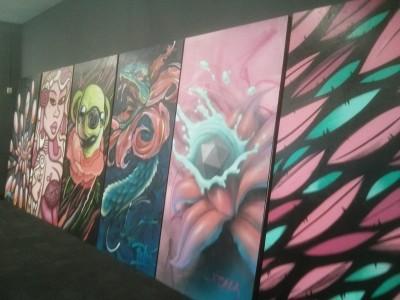 street art now launch - silent auction panels : bailer, deb, jack douglas, putos, itch, mysterious al