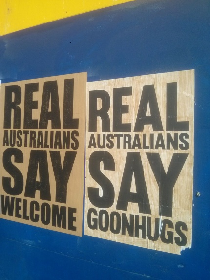 real australians say welcome and goon hugs - northcote